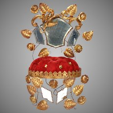 FRENCH Gilt Marriage Cushion - Wedding Crown - Memento Display