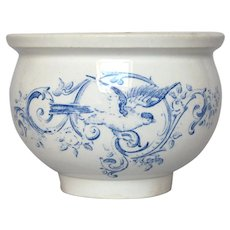 French Blue Transferware Jam Crock - Jelly Jar - Preserves Pot
