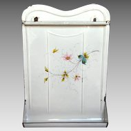 Hand-Painted Flowers & Butterfly Enamel Graniteware French Utensil Rack