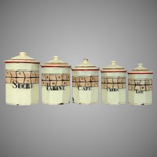 Octagonal Shaped French Enamel Graniteware Canister Set - 1930s