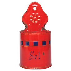 CLEARANCE Sale! Red & Blue Enamel French Salt Box