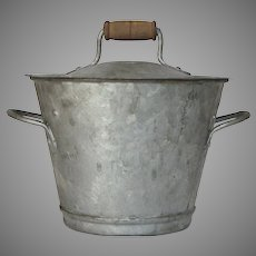 PETITE French Zinc Washing Bucket Complete with Lid and Removable Agitator - Lidded Metal Pail