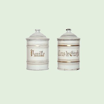 Rare Pair of Enamelware Spice Canisters - Graniteware Storage Pots for Vanilla and Cloves