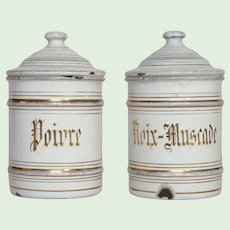 Rare Pair of Enamelware Spice Canisters - Graniteware Storage Pots for Pepper and Nutmeg Nut