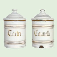 Rare Pair of Enamelware Spice Canisters - Graniteware Storage Pots for Cream of Tartar and Cinnamon