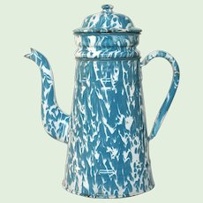 Turquoise and White Swirl Mottled Enamelware Drip Coffee Pot from France
