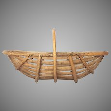 French Wooden Oyster / Garden / Harvest Trug / Basket with Branch  Handle