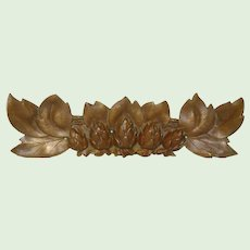 Vintage Brass Floral Furniture Ornament from France