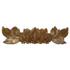 Vintage Brass Floral Furniture Ornament from France