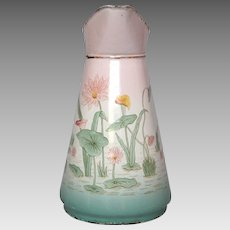 Pink & Aqua Shaded French Enamelware Pitcher - Hand-Painted Floral