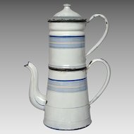 French Enameled Drip-Coffee Pot - Blue Banded Decor