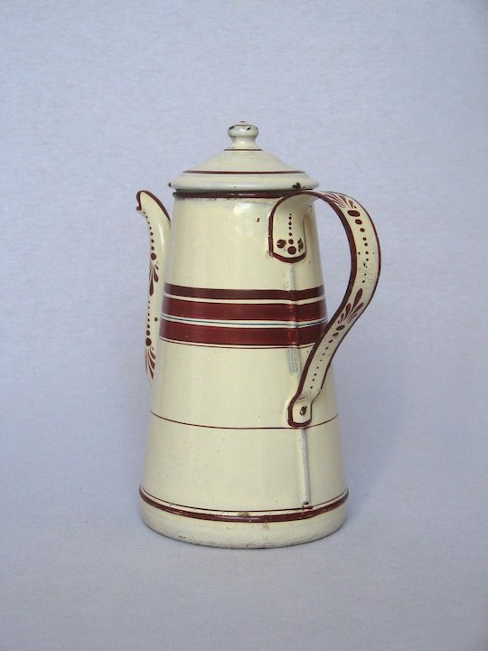 Late 1800s French Enamelware COffee Pot