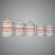 FINAL REDUCTION -French Enamel Canister Set with Red Check Design -early 1900s