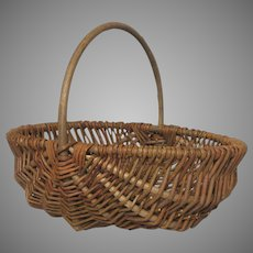 Vintage Woven French Gathering Basket - Wicker Reed Trug with Bent Branch Handle from France