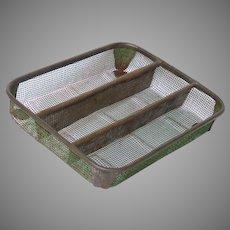 German Made Vintage Metal Mesh Organizing Tray - Flatware Holder - Drawer Caddy - Office Tray