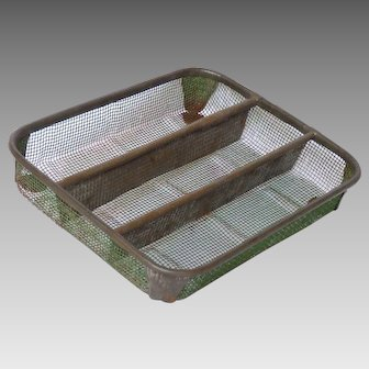 German Made Vintage Metal Mesh Organizing Tray - Flatware Holder - Drawer Caddy - Office Tray