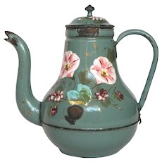Shabby Floral Enamelware French Coffee Pot - VERY Early Graniteware