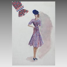 Red, White and Blue or Blue, White and Red French Fashion Designer's Sketch Poster