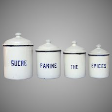 SUPER SALE! French Enamel Graniteware Canister Set - Early 1900s