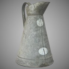 Beautifully Weathered Zinc XL Pitcher from France