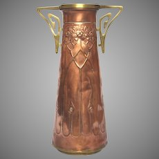 French Art Nouveau / Jugenstil Copper Vase - early 1900s