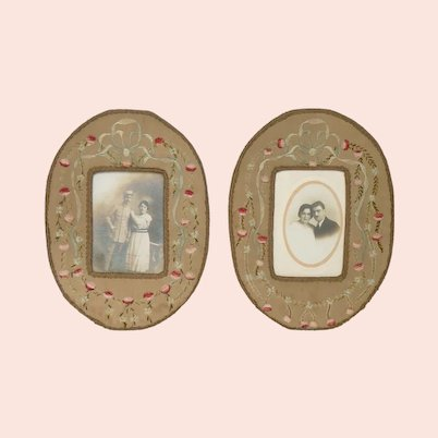 Pair of Antique French Embroidered Photo Frames