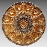 French Majolica Oyster Serving Presentation Platter - Sarreguemines