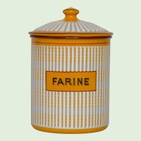 Colorful French Enamel Flour Canister - circa 1930