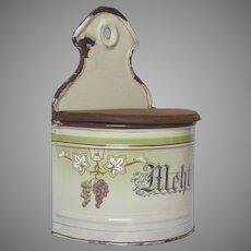 German Enamel Graniteware Flour Container - Hand-painted Grape Design
