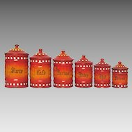 Price Dropped!  Complete Set of Red & Orange Enameled Graniteware Canisters from France