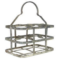 French Zinc Bottle Carrier / Metal Wine Caddy