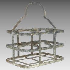 French Zinc Bottle Carrier / Metal Wine Caddy