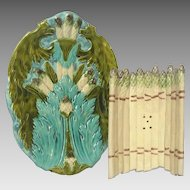 FINAL REDUCTION - French Majolica Asparagus Cradle and Platter
