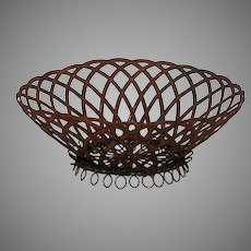 Vintage French Wire Looped Bottom - Wireware Woven Dish / Basket