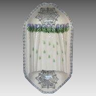 French Majolica Barbotine AND Transferware Asparagus Platter / Cradle