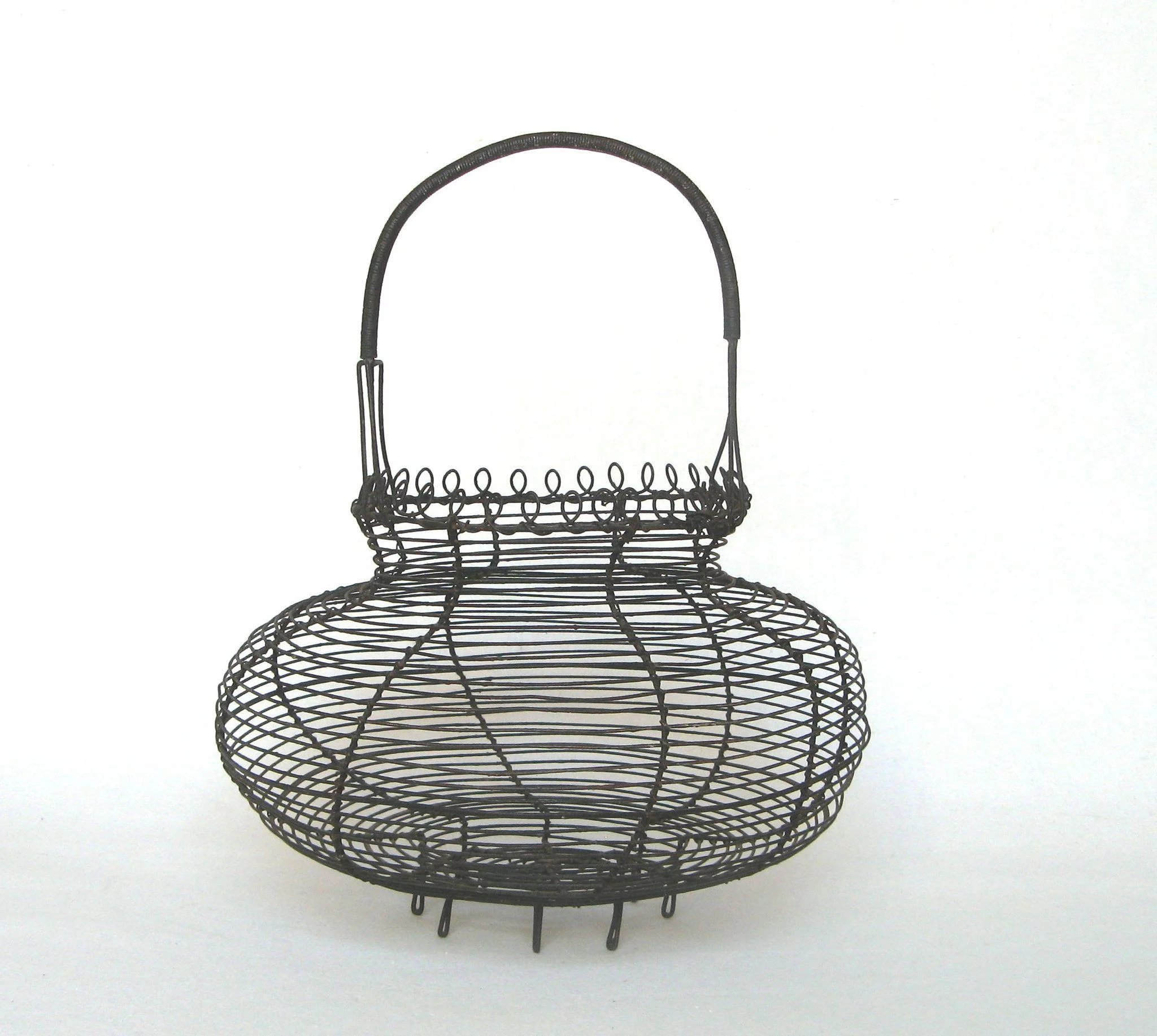 Vintage French Wire ware Egg Basket with Decorative Loop Trim ...