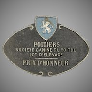 Canine Breeder Award Plaque from Poitiers France - Dog Litter Honorable Mention