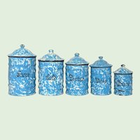 Blue & White Swirl Enamelware Canister Set from France