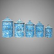 Blue & White Swirl Enamelware Canister Set from France