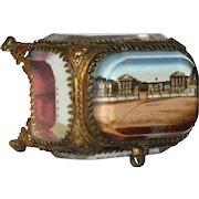 Antique French Jewelry -Memento Box /  Eglomise Souvenir Casket -Versailles