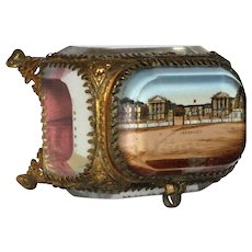 Antique French Jewelry -Memento Box /  Eglomise Souvenir Casket -Versailles
