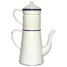 Classic White Enameled French Drip Coffee Pot Biggin - Near Mint Condition