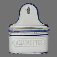 French Enameled Matches Holder - Graniteware Match Box