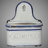 French Enameled Matches Holder - Graniteware Match Box