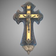 19th Century French Crucifix with Holy Water Stoup - Cross with Benetier
