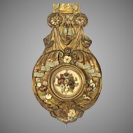 French Brass Morbier Clock Pendulum with Original Polychrome Painted Detailing