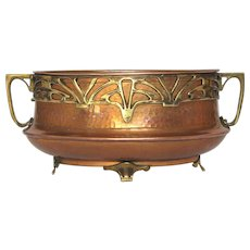Hammered Copper French Planter / Jardiniere with Brass Art Deco Decor
