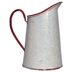 French Graniteware Enamelware Pitcher - Snow on the Mountain - Excellent Condition