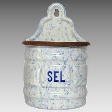 Vintage Graniteware Salt Box - Salt Container - Snow on the Mountain Enamel -w/ Manufacturer's Sticker