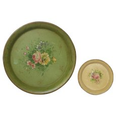 Pair of Vintage French Toleware Trays - Tole Platters - Metal Trays with Floral Decor